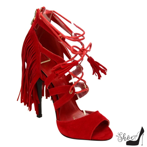 Bliss Lip Stick Red Fringe Lace Up Heels